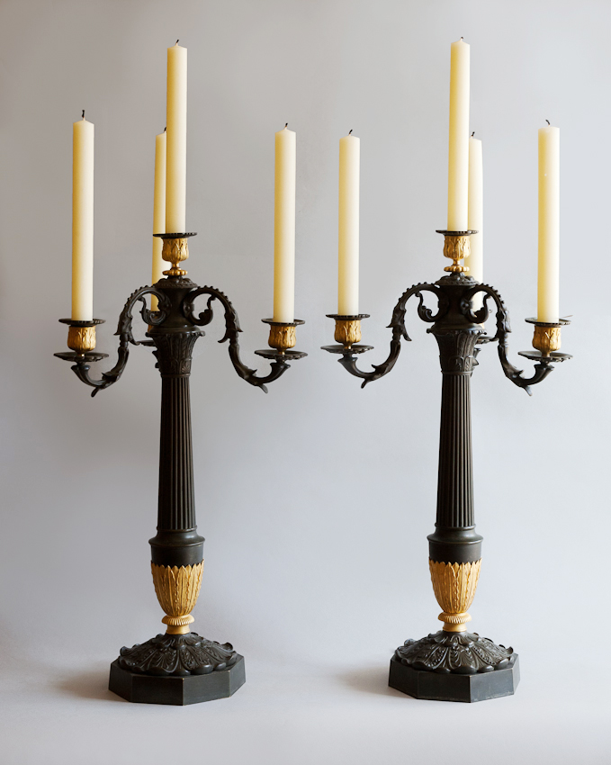 A Pair of Beautiful Four Arm Restauration Candlesticks. Available from Julia Boston Antiques, London, Kings Road