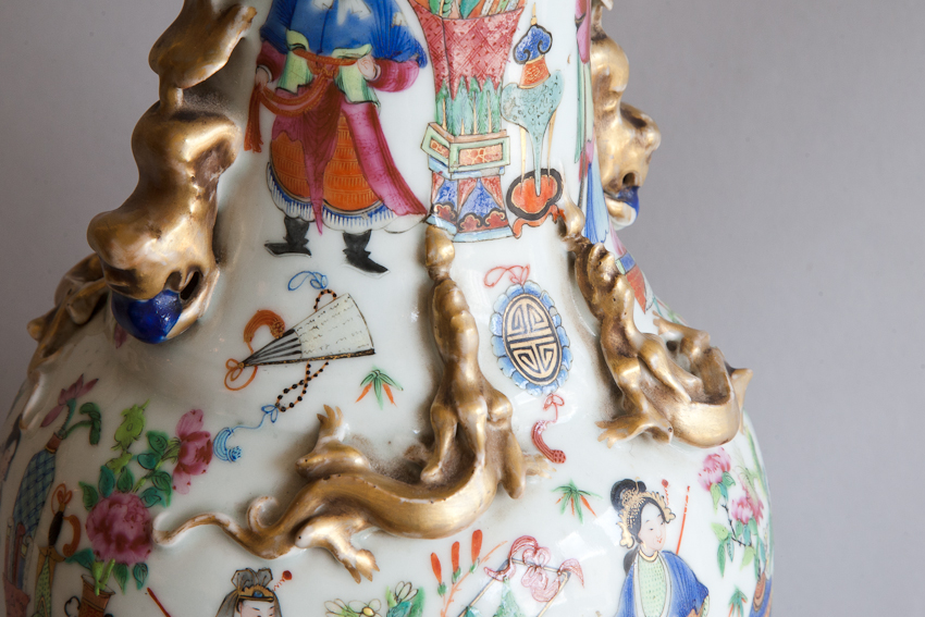 Qing Dynasty pink and blue porcelain vase decorated with wild animals and young dignitaries. From Julia Boston Antiques, London, specialist in antique furniture, tapestries, lighting and pictures.