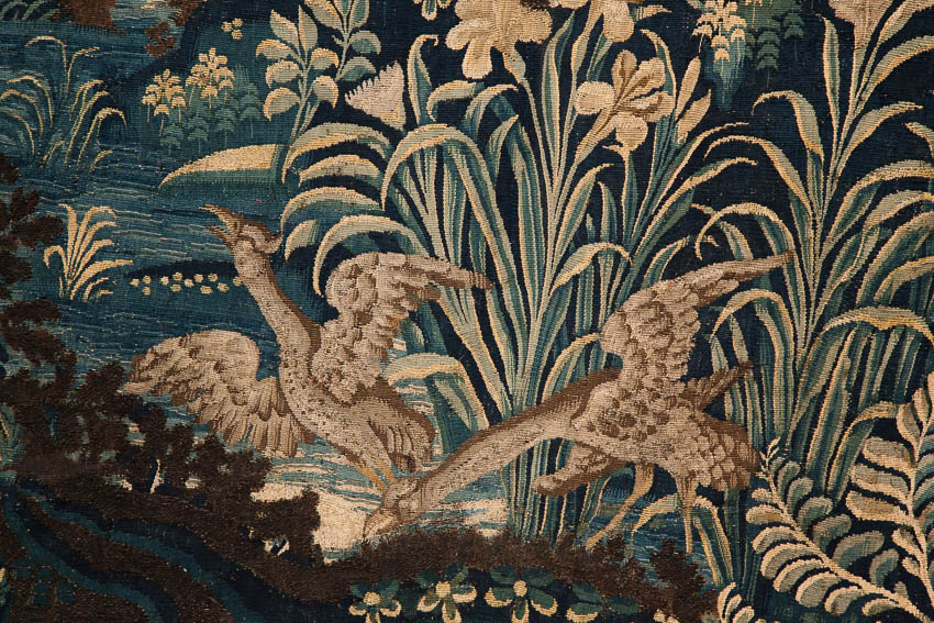 tapestry with wading birds