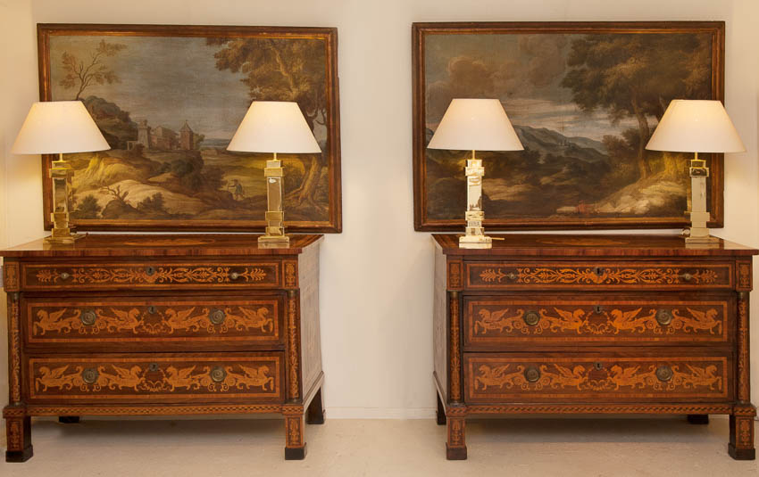 Pair of Early 19th Century Marquetry Commodes from Julia Boston Antiques