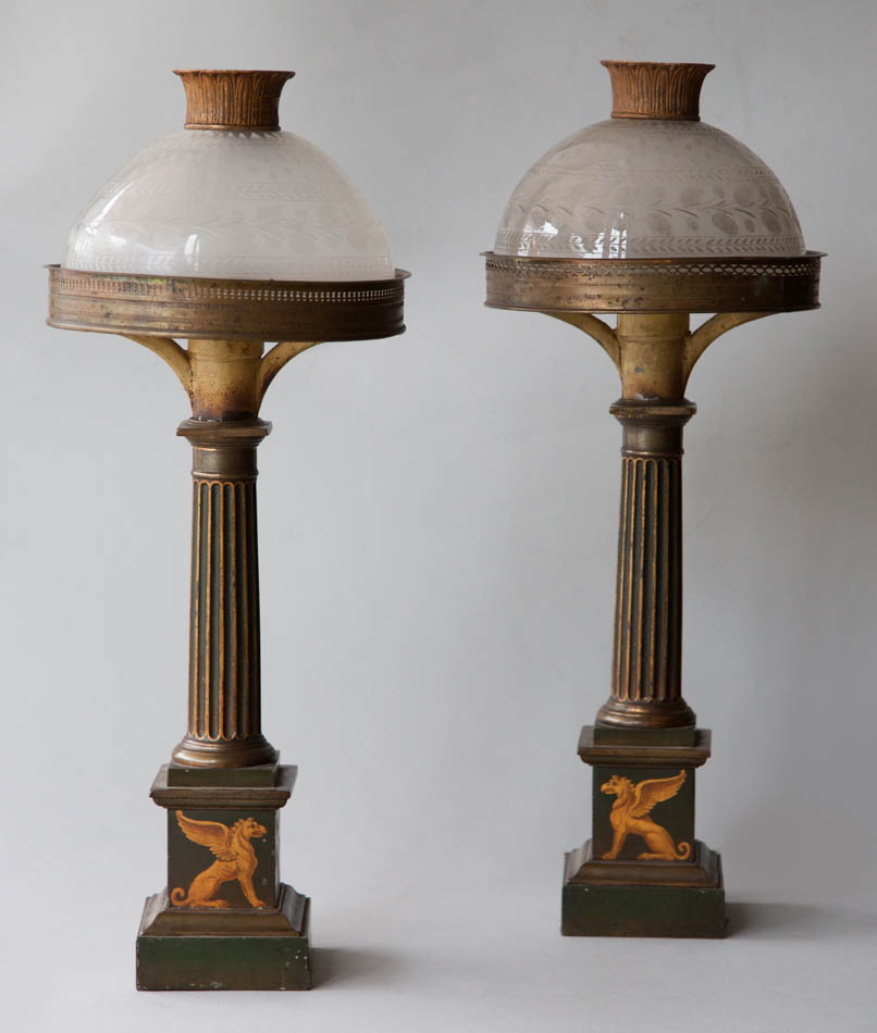 pair of tole sinumbra lamps