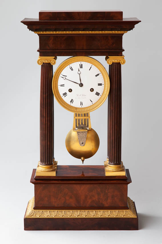 French Empire Mahogany Clock From Julia Boston Antiques