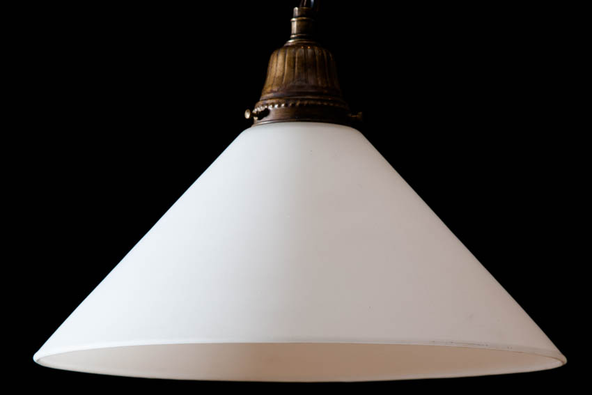 milk glass conelight