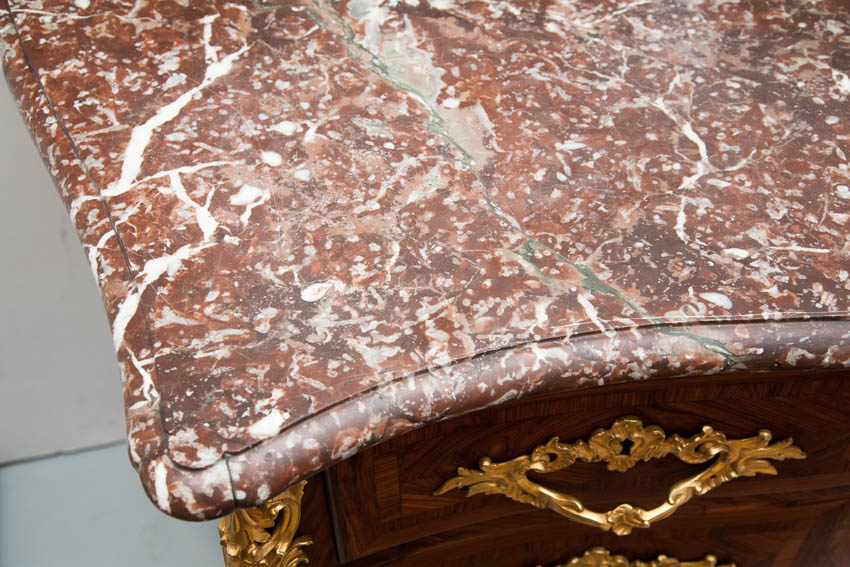 veined breche marble top