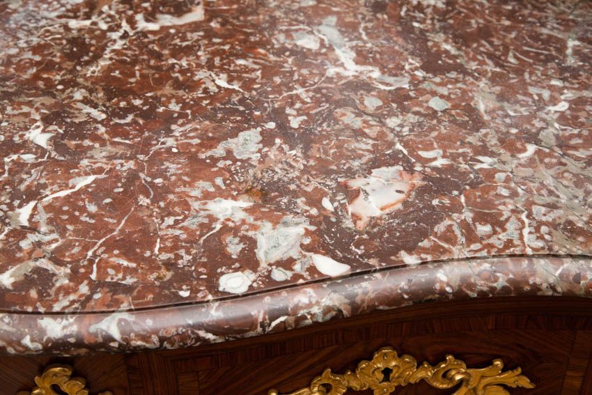 red, grech and white breche marble top