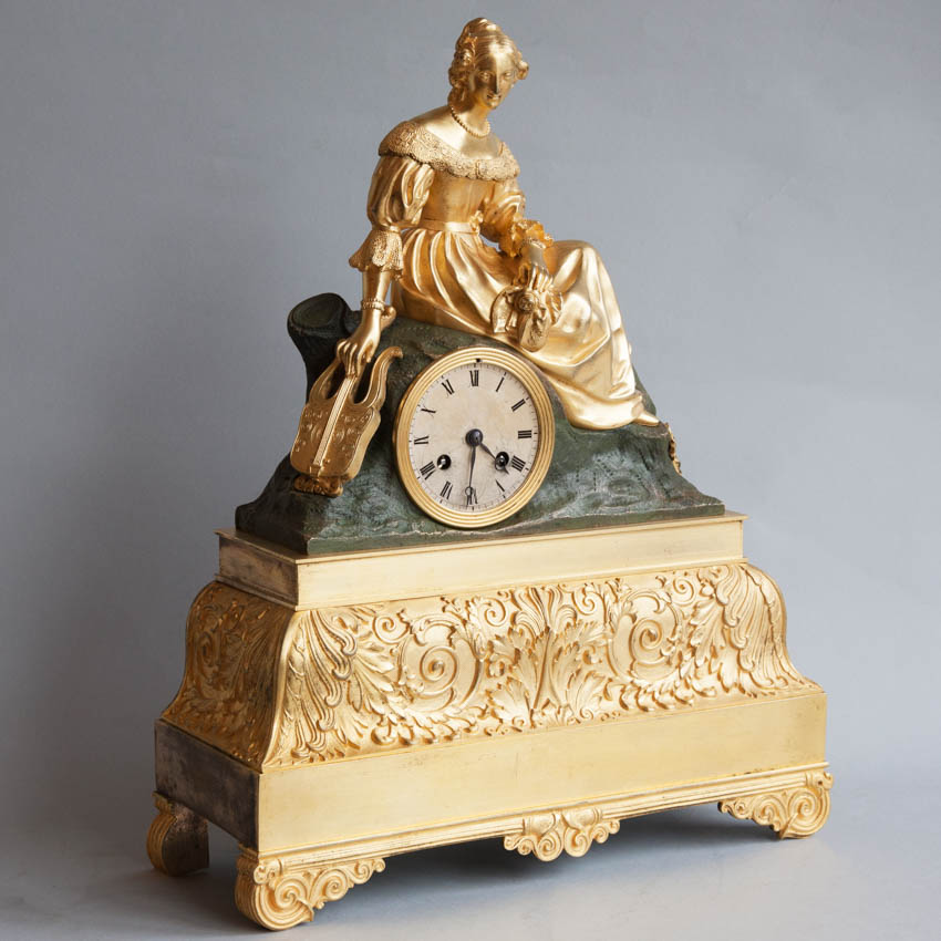 French 19th century gilt and patinated bronze mantel clock for sale