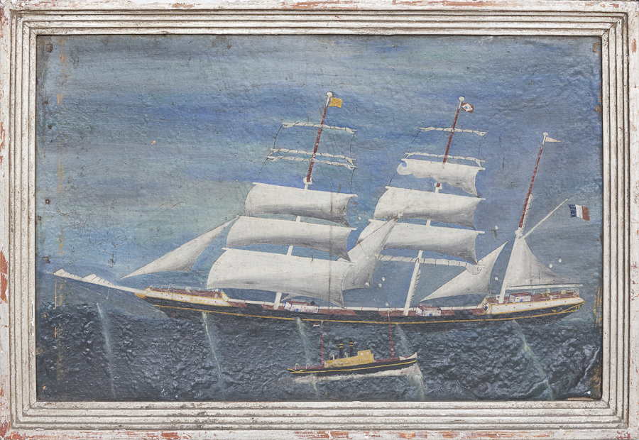 Naive oil painting of a two masted sailing ship