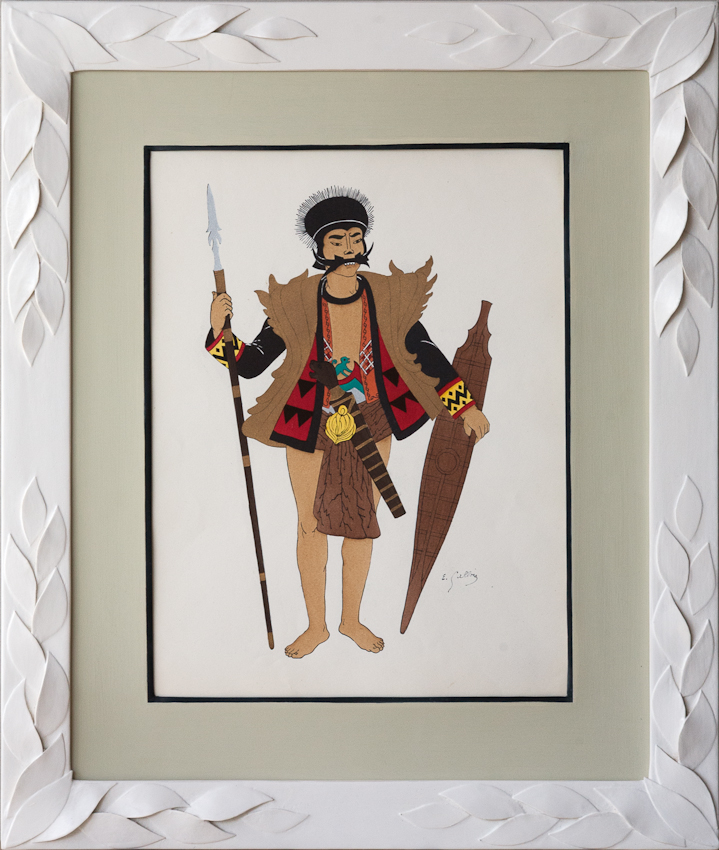 Indonesian costume prints framed in ivory coloured leaf frames from Julia Boston